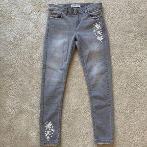 Zara Floral Embroidery Denim Skinny Jeans
